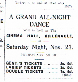 Killenaule Dance Advert 1925